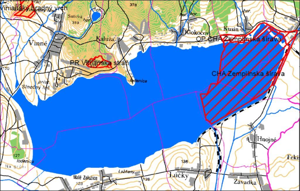 Zemplínská šírava mapa