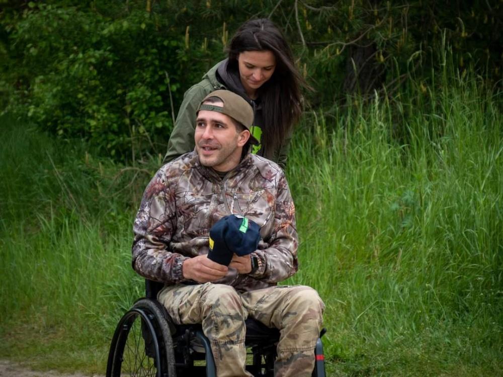 rybář na vozíku